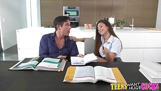 Cute brunette Naughty North rides their way set of beliefs tutor wildly