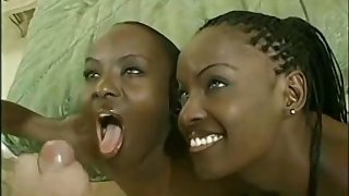Sexy ebony twins share white donger in threesome