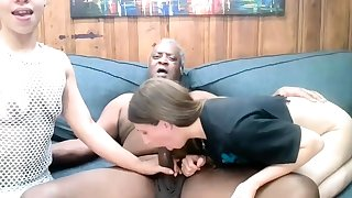 Sultry raven grandpa fuck two slutty chicks on webcam show
