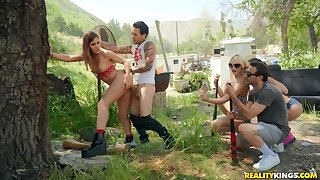Hot babe Paige Owens in crazy outdoor sex party with her friends
