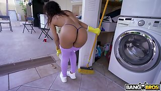 Latina cleans around the house together with gets laid