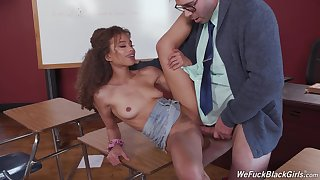 Starkers curly ebony fucks hither one of her teachers
