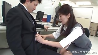 Japanese copyist drops down on her knees to not far from a blowjob